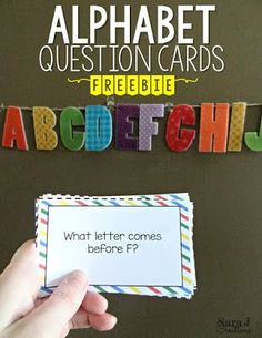 Alphabet whack with free question cards to practice identifying the letters of the alphabet