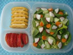 Salad with Cheese and Crackers Bento