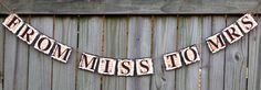 From Miss to Mrs Banner (can customize colors) Ivory, Brown and Orange Bridal Shower, Bachlorette Party, Wedding, Decoration, Garland