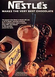 "1968 Nestlé Quik Chocolate Drink Mix original vintage advertisement. ""Nestlé's makes the very best chocolate."""