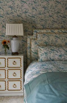 Gorgeous blue and cream bird fabric, lamp, dresser - Jan Showers Design