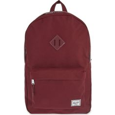 HERSCHEL SUPPLY CO Heritage backpack ($84) ❤ liked on Polyvore featuring bags, backpacks, wine, zipper bag, rucksack bag, herschel supply co backpack, knapsack bags and zip bags