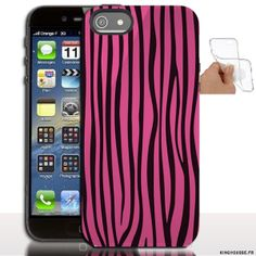 Étui iphone 5 en Silicone personnalisé Zebre Rose - Coque souple - Gel - Pour Apple iPhone 5s, iPhone 5. #iPhone5 #Zebre #Rose #accessoire