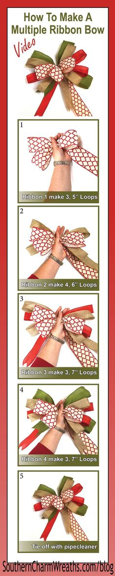 Sewing Tips Helpful Hints Click image for Video - How to make a bow using multiple ribbons. I like adding these to my Christmas wreaths, trees and garlands. - Save those ribbon scraps and make these easy multiple ribbon bows. Ribbon Crafts, Ribbon Bows, Diy Crafts, Ribbon Garland, Ribbon Wreaths, How To Make Ribbon, How To Make Wreaths, Christmas Bows, Christmas Decorations