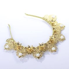 Gold Bridal tiara Wedding tiara Bridal headband Wedding hair piece Leaf crown Pearl tiara headband Bridal hair accessories Wedding headpiece  Fantastic hair accessories for weddings, prom, parties or other special occasions.  - Handmade - Size: 6cm (2.3) high. - Tiara (open front the back) flexible. - **100% FULL MONEY BACK GUARANTEE** Unlike others sellers, WE STAND behind our brand ILoveCrowns and provide 100% FULL MONEY BACK guarantee, if, For Whatever Reason, You dont Absolutly Love your…