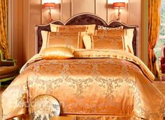 Golden Satin Jacquard 100% Cotton 4-Piece Duvet Cover Sets