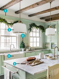 10 Ways to Add Old-Fashioned Charm to a New Kitchen    I love the honed granite counters that look like marble but are more durable and cost less.