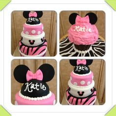Minnie Mouse pink, polka dot and zebra 1st birthday cake and giant cupcake smash cake www.facebook.com/cakeitorleaveitcakesbymarianne