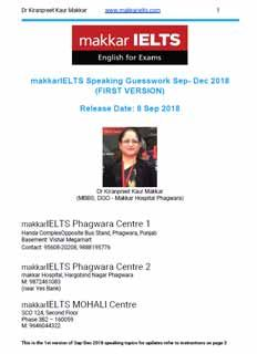 Download Makkar IELTS Speaking cue cards Sept to Dec 2018 eBook PDF Ielts Reading, Ielts Writing, Academic Writing, English Lessons, Learn English, English Letter Writing, Past Exams, Cue Cards, Sample Paper