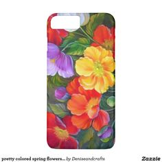 pretty colored spring flowers case