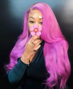 Light purple lace frontal wig,Fashion color for summer - Colorful Hair Medium Styles Lace Front Wigs, Lace Wigs, Hair Colorful, Multicolored Hair, Curly Hair Styles, Natural Hair Styles, Natural Hair With Color, Cute Hair Colors, Birthday Hair