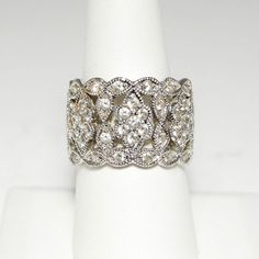 Stunning Wide Pave Milgrain Eternity Band by Diamonique Garland Design SZ10