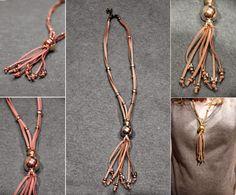 TallerdeLuna: Collar de antelina con abalorios dorados