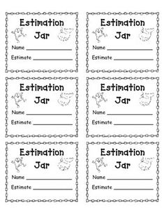 Use this template for students to write their estimates for estimation jars.  Much better than a ripped up piece of paper!  I love using estimation jars to teach math skills, as well as at Back to School Night, Open House, and other events with families.