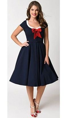 Vintage Diva 1950s Style Navy Blue Sailor Dovima Swing Dress