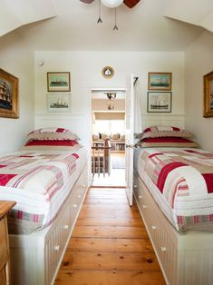 Ideas to Create Exquisite Paint Color for Small Bedroom: Exquisite White Wall Paint Color For Fabulous Small Bedroom With Twin Single Bed Also Wooden Floor Design And Exciting Red Gingham Sheets And Pillows And Ships Picture On The Wall ~ youahh.com Bedroom Design Inspiration