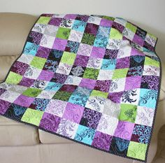 Spring Lap Quilt or Sofa Throw in Radiant by QuiltSewPieceful