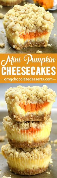 Mini Pumpkin Cheesecakes with streusel topping are delicious, crowd-pleasing, fall and Thanksgiving dessert.You can easily double or triple the recipe and feed the crowd. easy 3 ingredients easy for a crowd easy healthy easy party easy quick easy simple Oreo Dessert, Pumpkin Dessert, Dessert Recipes, Dessert Bars, Quick Dessert, Dessert Healthy, Dessert Simple, Pumpkin Carrot Cake Recipe, Pumpkin Baking Recipes