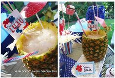 Decorating a luau-themed party