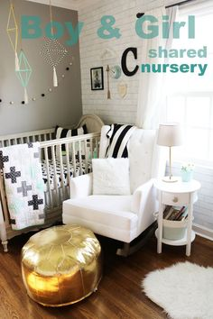 boy and girl shared nursery gender neutral nursery toddler and baby bedroom nursery decor mint gold black white