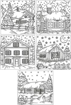 Advanced Embroidery Designs - Redwork Winter Cottage Set