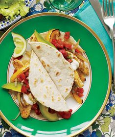 Chicken and Pepper Fajitas recipe from realsimple.com #MyPlate #protein #veggies