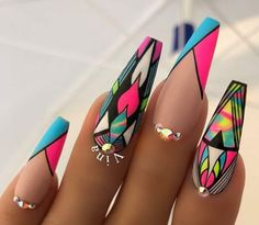 Nail Art Designs In Every Color And Style – Your Beautiful Nails Dope Nails, Nails On Fleek, My Nails, Pop Art Nails, Nail Swag, Fabulous Nails, Gorgeous Nails, Nail Art Designs, Bright Nail Designs