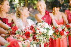 Brilliant Coral Bouquets for Bridesmaids! See more of the wedding on SMP: http://www.StyleMePretty.com/2014/06/02/rustic-california-celebration-layered-with-pink/ -- Floral Design: ArtWithNatureDesign.com -- Photography: SargeantCreative.com