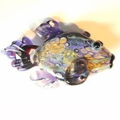 Purple Pebbles Fish Lampwork Glass Beads handmade by glassbead, $24.00