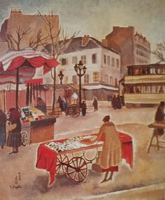 1918 env coin de Paris  Huile 46 x 38 Collection particulière