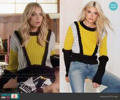 Hanna's yellow colorblock sweater on Pretty Little Liars. Outfit Details: https://wornontv.net/56283/ #PLL