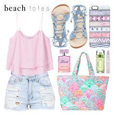 """Pastel Beach Tote"" by minchu ❤ liked on Polyvore featuring MANGO, Lilly Pulitzer, Cornetti, Estée Lauder, Casetify, Lancôme and beachtotes"