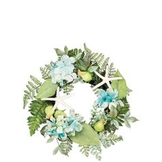 Hydrangea and Fern Wreath, Blue, Sullivans - Under 24 inches (Polyester) Nautical Wreath, Artificial Flowers And Plants, Candle Rings, Faux Succulents, Blue Hydrangea, Bright Green, Ferns, Silk Flowers, Floral Wreath