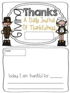 free GIVING THANKS: A DAILY JOURNAL OF THANKFULNESS {FREE!} - TeachersPayTeachers.com