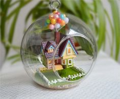 Pixar Disney UP Inspired Flying House Miniature in a Glass Ball DIY Craft Kit with voice-controlled lights! home decor project movie fans on Etsy, $69.00