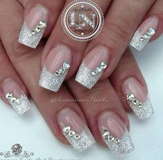 Picture result for nail design glitter - nails - # picture result Best Picture For indian Wedding Na Nail Designs Bling, Nail Design Glitter, Bridal Nails Designs, Wedding Nails Design, White Nail Designs, Glitter Nail Art, Acrylic Nail Designs, Nail Art Designs, Acrylic Nails