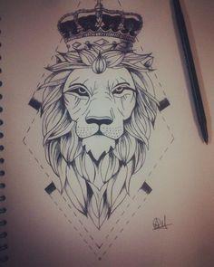 Lion Tattoo With Crown, Lion Head Tattoos, King Tattoos, Leo Tattoos, Body Art Tattoos, Leo Tattoo Designs, Lizard Tattoo, Geometric Lion Tattoo, Lion Sketch