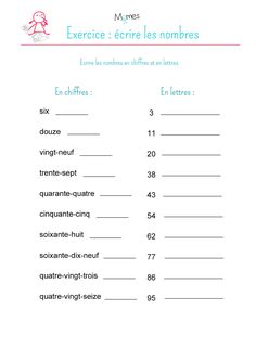 Ecrire-en-chiffres-et-en-lettres-exercice. French Flashcards, French Worksheets, French Language Lessons, French Lessons, French Teacher, Teaching French, Math For First Graders, French Education, French Grammar