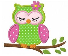 Sleeping girl owl applique machine embroidery design