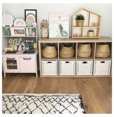 Ikea Kids Playroom, Toddler Playroom, Playroom Organization, Playroom Design, Playroom Decor, Playroom Ideas, Ikea Kallax Unit, Ikea Kallax Nursery, Montessori Baby