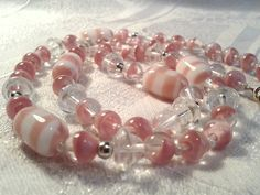 Vintage Pink Givre Glass Bead Necklace, 50s, 60s. by GothiqueGirl on Etsy