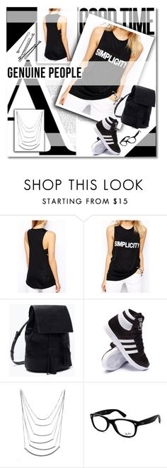 """""""Genuine people"""" by janee-oss ❤ liked on Polyvore featuring Michael Kors, adidas, Ray-Ban, BOBBY and Genuine_People"""