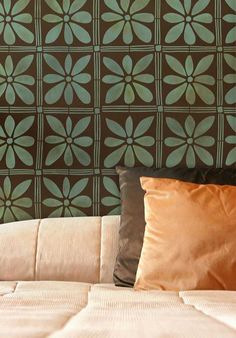 Wall Stencil with hand painted look | African Flower Stencil | http://www.royaldesignstudio.com/