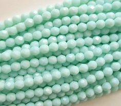 Lot of 25 6mm Opaque Pale Jade Czech glass firepolished, faceted round beads, C9425