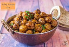 Baby Potato Fry - Kali Mirch - by Smita Baby Potato Fry, Baby Potato Recipes, Baby Potatoes, Fried Potatoes, Indian Veg Recipes, Vegetarian Recipes, Ethnic Recipes, Lunch Box Recipes, Snacks Recipes