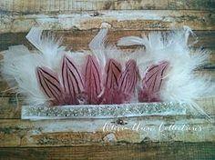 White embellished feather headdress/headband