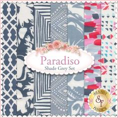"""Paradiso 7 FQ Set - Shade Grey Set by Kate Spain for Moda Fabrics: Paradiso is a collection by Kate Spain for Moda Fabrics. 100% Cotton. This set contains 7 fat quarters, each measuring approximately 18""""x21"""""""