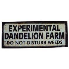 "Why spend all that time cutting the grass or weeding the garden when this sign will have you relaxing in no time? This metal tin sign would look great in your garden or front lawn, and reads, ""Experimental Dandelion Farm Warning Do Not Disturb Weeds. Funny Garden Signs, Funny Signs, Funny Garden Quotes, Backyard Signs, Farm Signs, Wood Signs, Country Signs, Pallet Signs, Farm Gardens"