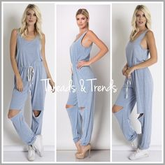 Serenity Blue Slash Knee Jumpsuit (S, M, L) One of the top 10 colors for Spring 2016. Cool calming serenity blue casual slash knee jumpsuit. The perfect comfortable, relaxing running weekend errands or Mommy on the go jumpsuit. Super soft luxurious poly/cotton and rayon fabric. Drawstring waistline for a precise fit. Don't miss out on this ultimate casual stylish comfort. Size S, M, L A line, pastel Threads & Trends Dresses