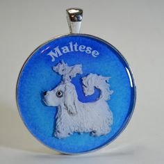 Maltese - Tiny Hand Sculpted Dog Pendant - Necklace, Key Ring, or Zipper Pull